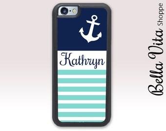 Nautical Stripes Anchor iPhone 5C Case, Monogrammed iPhone 5C Case, Personalized iPhone 5C Case 1153