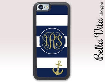 iPhone 6 Plus Case, Monogrammed iPhone 6 Plus Case, iPhone 6S Plus Case, Anchor Glitter Monogram Stripes Nautical Navy 1169 I6P