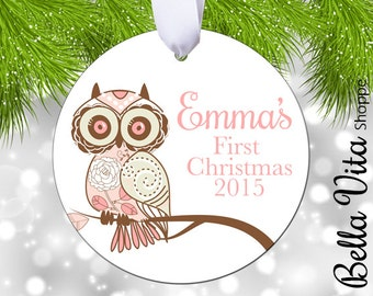 Baby's First Christmas Ornament - Owl Pink - Double Sided - Aluminum