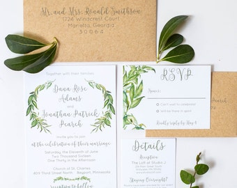 Wedding Invitations Greenery Invitation Suite Rustic Wedding SAMPLE INVITE
