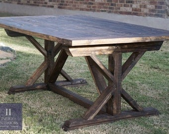 Handmade Farmhouse Wood Plank Trestle Dining Table
