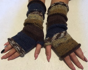 sale off 20% !women gloves  Knit  gloves  Mittens  Long Arm Warmers Boho Glove Women Fingerless Wrist multicolored gloves Ready to ship!