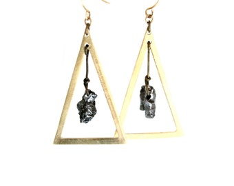 ON SALE - Triangle Meteorite Earrings - Real pieces of meteorites/Raw brass triangles/Brass hooks