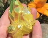 Lemon Sunshine Yellow Magic Aura Quartz Crystal Cluster