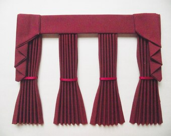 Miniature doll house plain curtains drapes with straight pelmet  and tie backs bay window burgundy