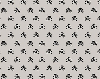 Half Yard Military Max - Military Skulls in Gray (Taupe) - Cotton Quilt Fabric - by Bella Blvd. for Riley Blake Designs - C4373-GRAY (W3262)