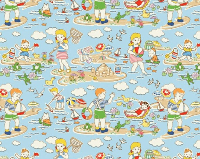 One Yard Storybook Vacation - A Day at the Beach in Multi - Cotton Quilt Fabric - by Whistler Studios for Windham Fabrics - 41075-X (W3366)