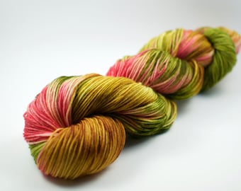 "Superwash Sock Yarn - 100g, 437 yards - ""Lily Pond"" Kettle Dyed Merino Wool - Pink Green Yellow Gold"
