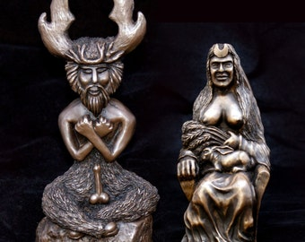 The Horned God and the Goddess twin statue set.