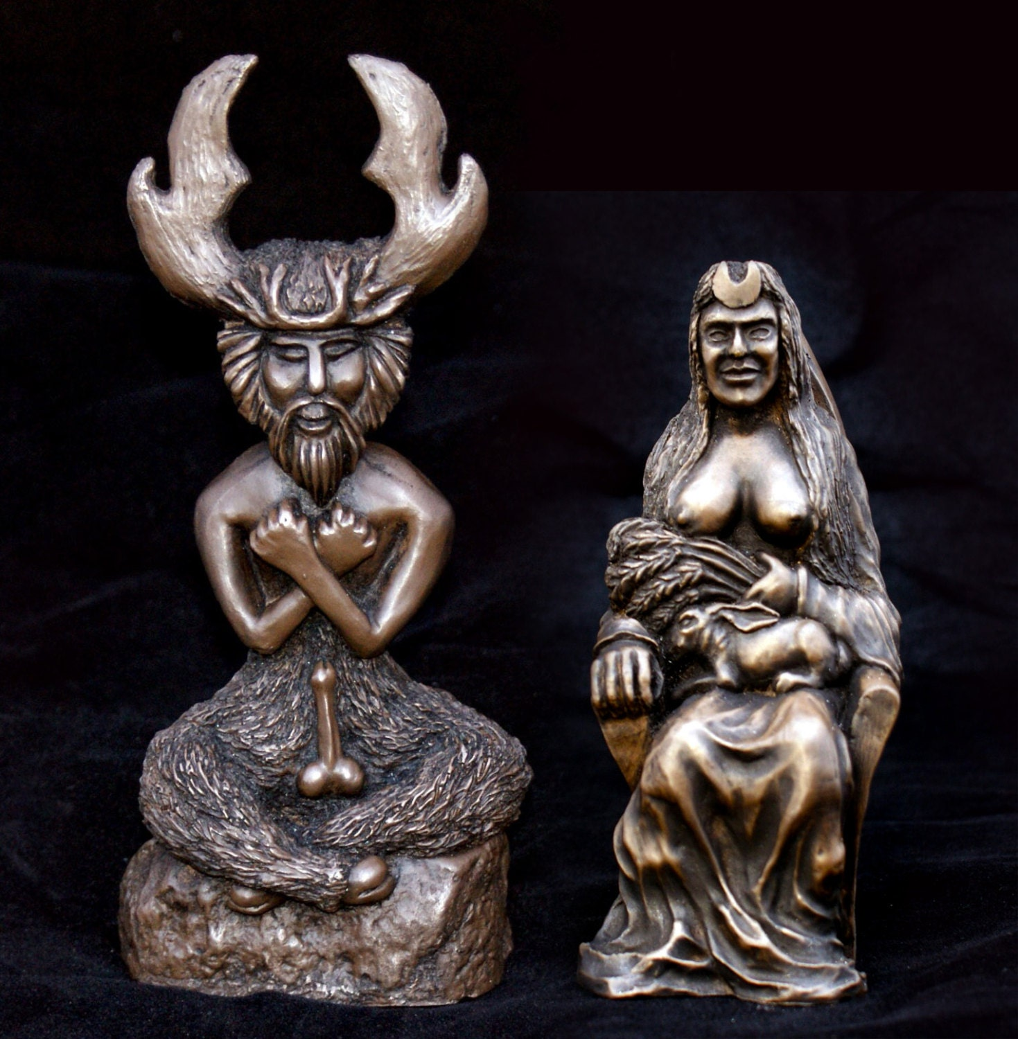 The Horned God And The Goddess Twin Statue Set