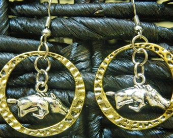 Razorback Hammered Metal Earrings
