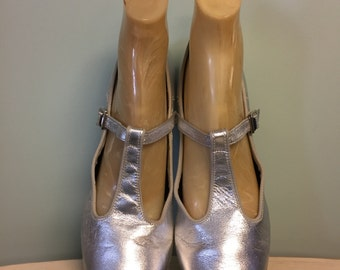 RESERVED Vintage Silver Leather Ballroom Dance Shoes with Suede Soles