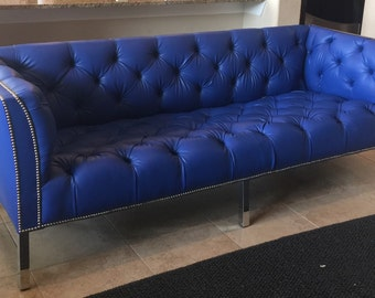 SOLD- Custom Tufted Blue Vinyl Sofa with Silver Nailhead Trim