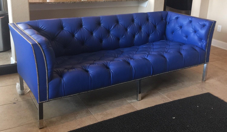 Sold Custom Tufted Blue Vinyl Sofa With Silver Nailhead Trim