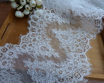 "8.7"" wide Off white French Alencon Lace Trim Exquisite Bridal Veil Wedding Lace Scallop Embroidered Eyelash Floral Trim Lace"