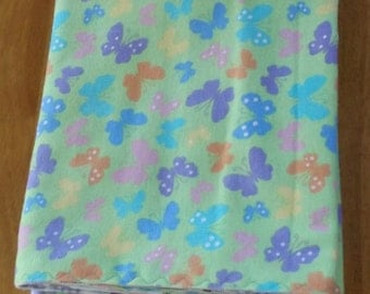 Purple and Green Butterflies and Plaid- Extra Long Reversible Flannel Receiving or Swaddling Blanket, Double Sided Crib Blanket