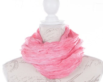 pink sea glass ruffled scarf / light red wrinkled scarf for women /  No iron salmon ruffled silk scarf