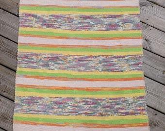 ERR1504 Long 2.84m Vintage Handmade Swedish Rag Rug in Tutti Fruiti Yellow Lime Green Pinks