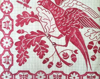 Bird and Snake Red & Beige off white Original 19th Century Handpainted Textile French Art Design Embroidery Design Paper Anniversary Gift