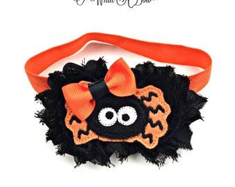 Halloween baby, Halloween spider bow, Spider Headband, Spider hair BOw, Halloween Hair Bow, Halloween Headband, orange black hair bow