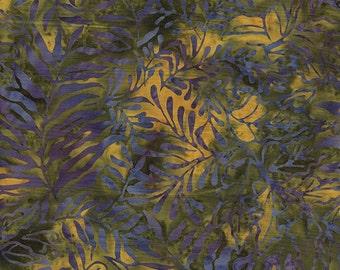 Blue Fern Leaves on Green by Island Batik 1 yd