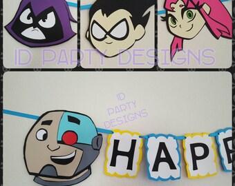 TEEN TITANS GO ! Inspired banner Robin, Beast Boy, Raven, Starfire, Cyborg Cartoon Network