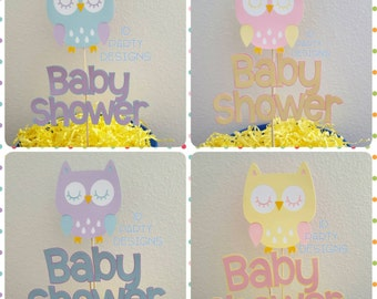 OWL themed Baby SHOWER centerpiece 2pc any color combo any phrase Who's Whoo's having a baby Who's Whoo's almost due