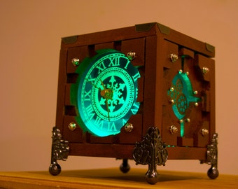 Customized Lighted  Wood Steampunk Box Portal Cube Clock