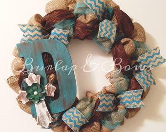 Burlap wreath, monogram wreath, Teal and Brown Wreath