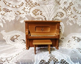Dollhouse Piano-Wood Player Piano- MUSIC BOX- Pianola with Bench- Swiss Musical Piano- Doll Furniture- Miniature- Curio Cabinet Collectible