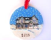 Custom House Christmas Ornament Christmas folk art ornament