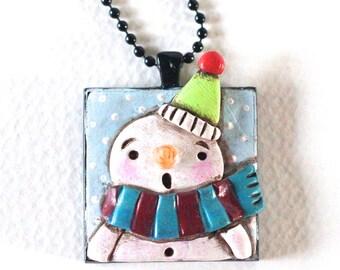 Original Snowman Folk Art Necklace with Green Hat in Square Black Bezel setting