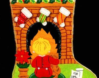 "Bucilla Great Expectations ~ 18"" Felt Christmas Stocking Kit #48606 Child, Cat DIY"