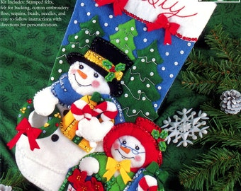 "Bucilla Mr And Mrs F.T. Snowman ~ 18"" Felt Christmas Stocking Kit #83386 Vintage DIY"