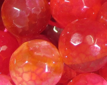 8 MM Firebrick Red (dyed) Faceted Agate Bead - 16 Inch Strand