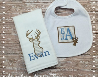 Personalized Burp Cloth and Bib Set- with a fabric applique of a buck (deer silhouette)