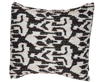 Cushion Cover - Black Ikat Design