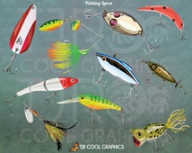 Fishing Lures Digital Realistic Clip Art, PNG, Printable, Spoon, Spinner Bait, Rattler, Frog, Bass, Muskie, Pike