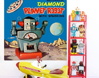 Diamond Planet Robot Tin Toy Wall Decal - #55084