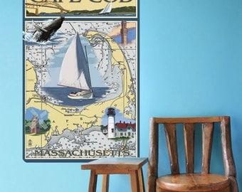 Cape Cod Massachusetts Map Wall Decal - #60862