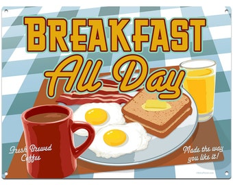 Breakfast All Day Diner Food Metal Sign - #37099
