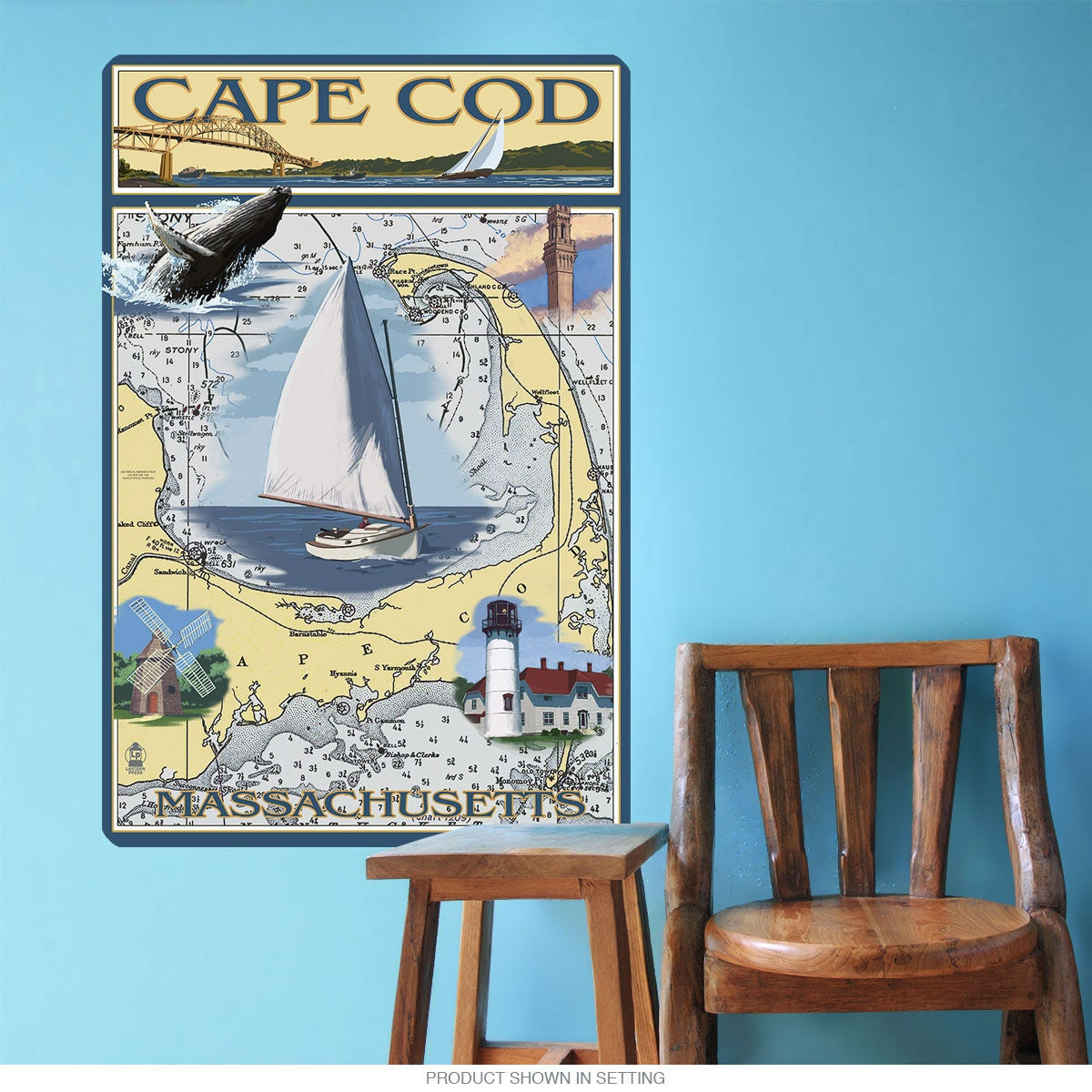 Cape Cod Massachusetts Map Wall Decal 60862