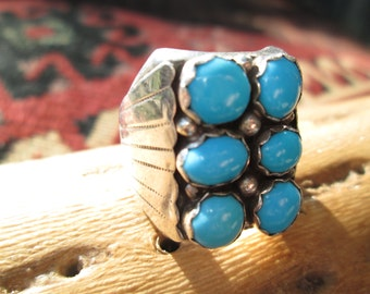 Turquoise and Sterling Man's Ring Size 10.75