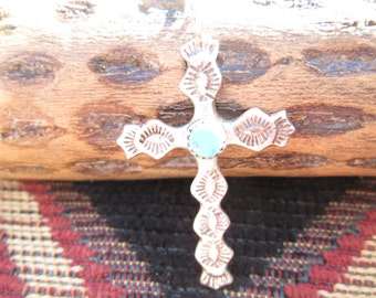 Turquoise and Sterling Cross Necklace