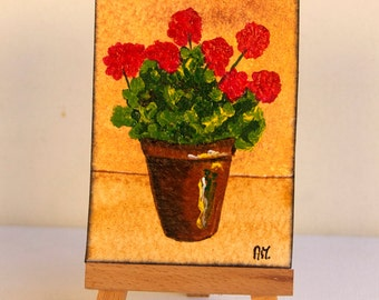 ACEO ART CARD.Acrylic painting.Miniature art work.Artist Trading Card.Original painting