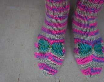 Bow Socks (hand-knitted) - size 7-8 US/AU