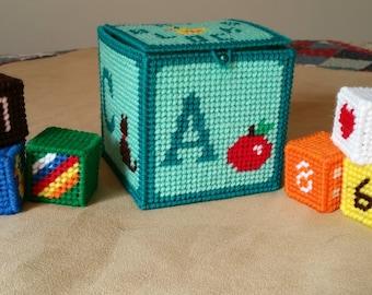Soft Baby Rattle Blocks Handmade / Plastic Canvas Blocks