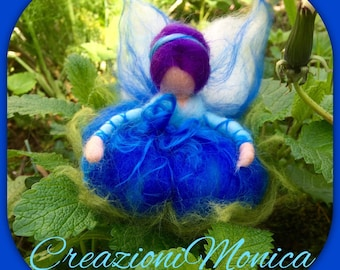 Cornflower Fairy in carded and fairy wool. Waldorf