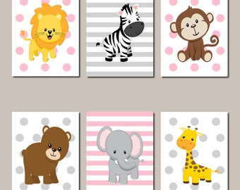 Jungle Animals Nursery Wall Art Jungle Nursery Prints Or Canvas Set of 6 Pink Grey Baby Girl Elephant Pink Gray Giraffe Zebra Safari Animals