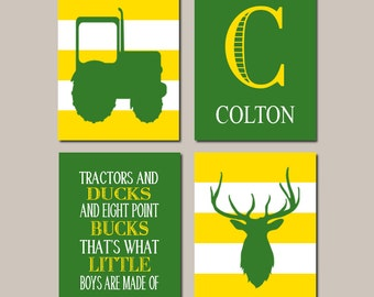 Tractor Nursery Decor, Prints Or Canvas Wall Art, Deer Nursery, Country Nursery, Rustic Nursery, Yellow Green, Nursery Pictures, Set of 4
